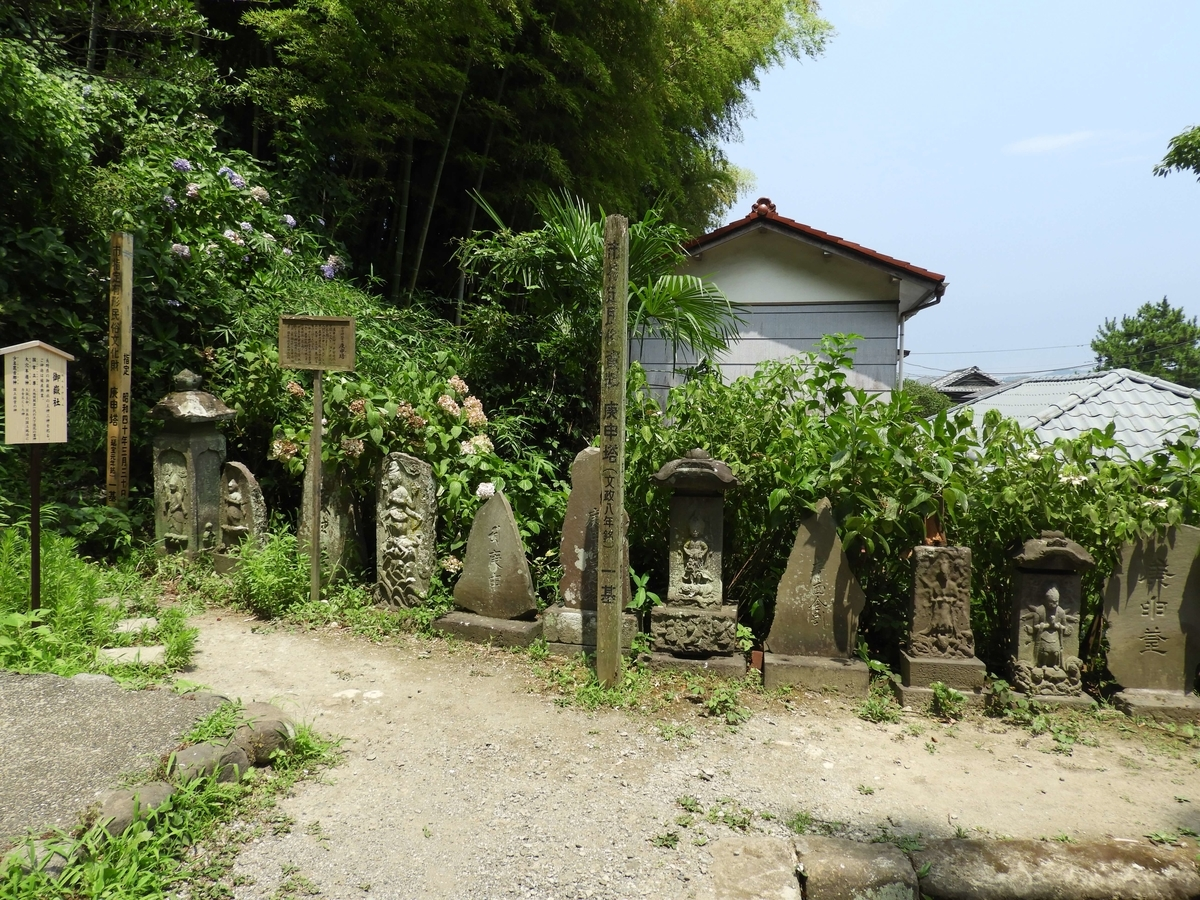 神社の敷地の端に一直線に並べられた庚申塔