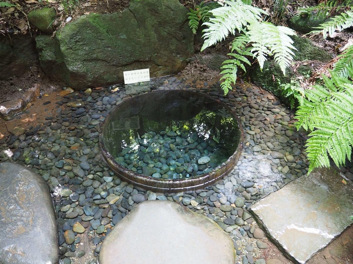 丸い枠の中に透き通った水が湧き続ける清正井