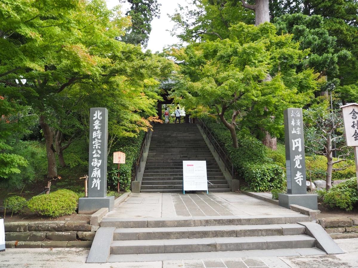 緑に包まれた総門に通じる石段と寺号標