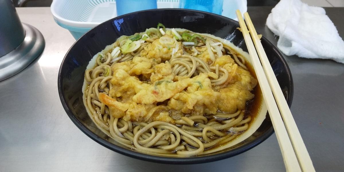 天ぷらそばの天ぷらがほぐれた状況