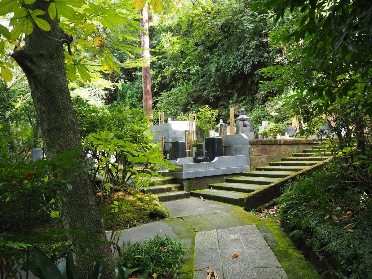 東慶寺の墓地。静かで緑豊かな環境の中でご先祖様が供養されている。