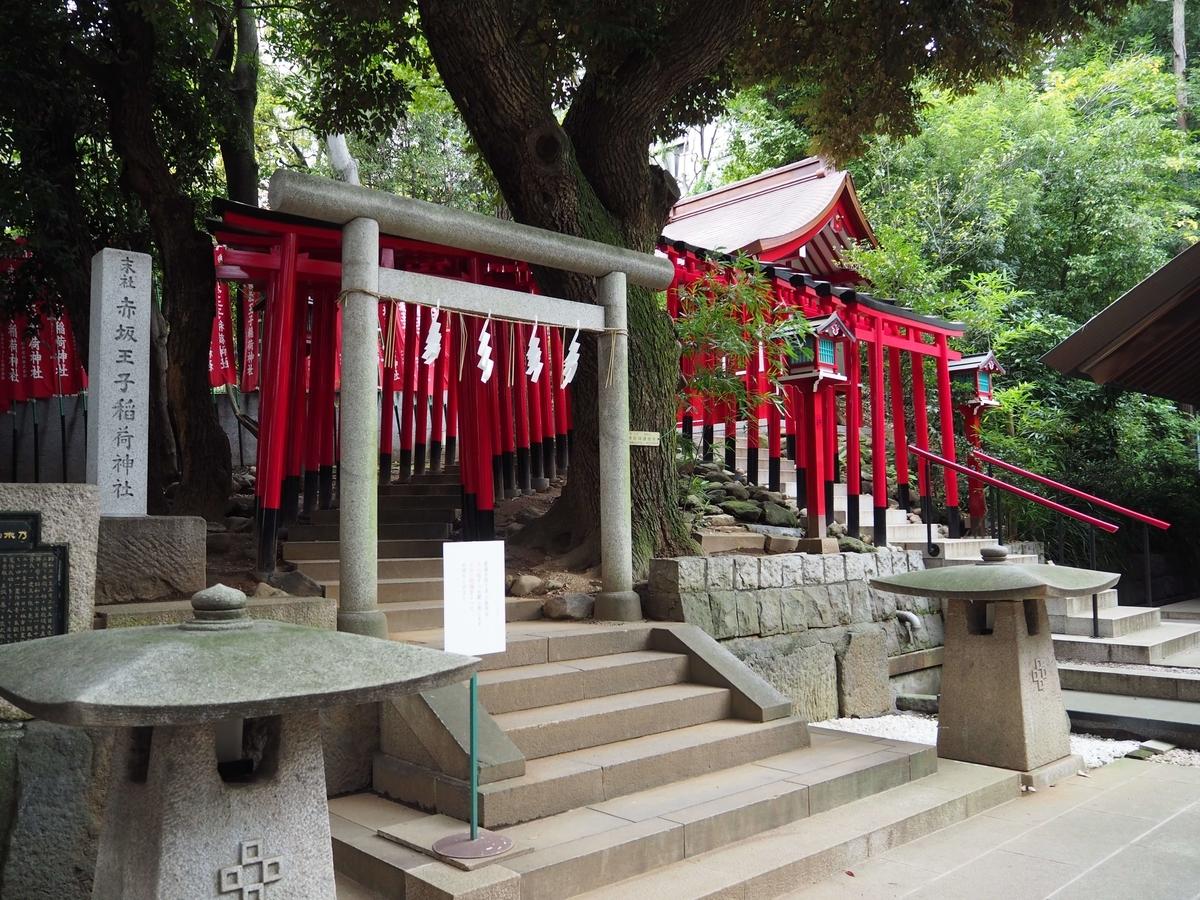 赤坂王子稲荷神社。赤い千本鳥居が目立つ