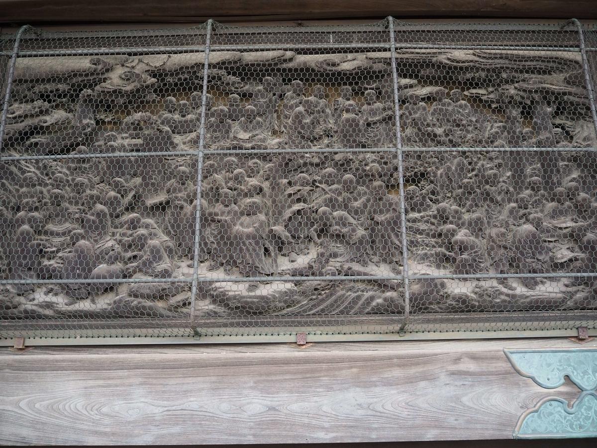 釈迦堂の板壁に貼られた彫刻