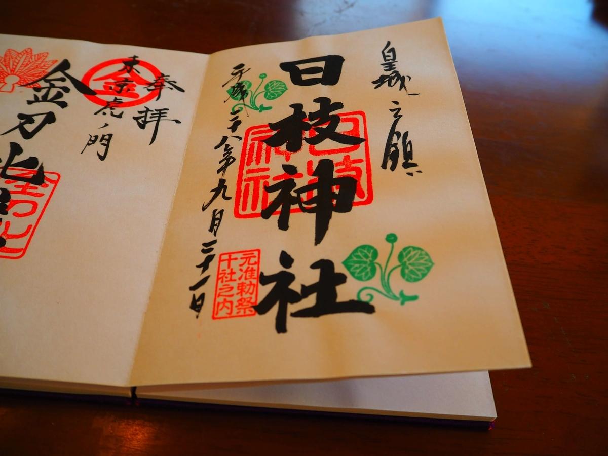 日枝神社の平成28年9月21日付御朱印