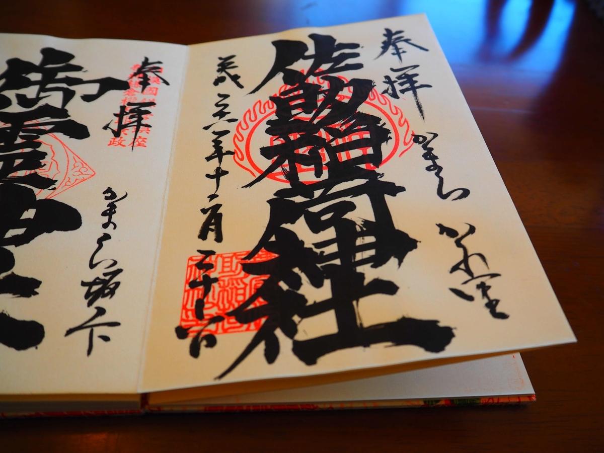 佐助稲荷神社の平成28年12月26日付御朱印