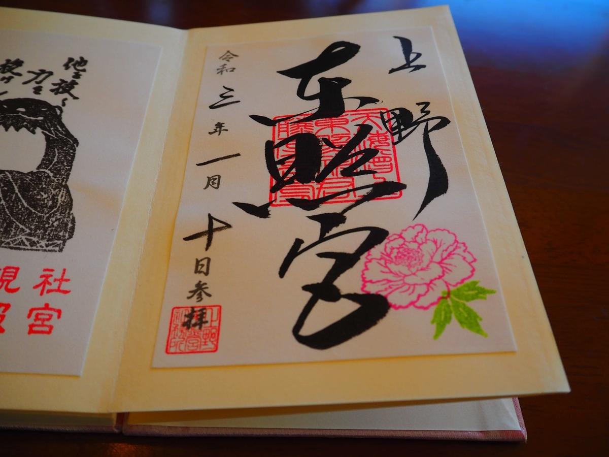 上野東照宮の令和3年1月10日付御朱印