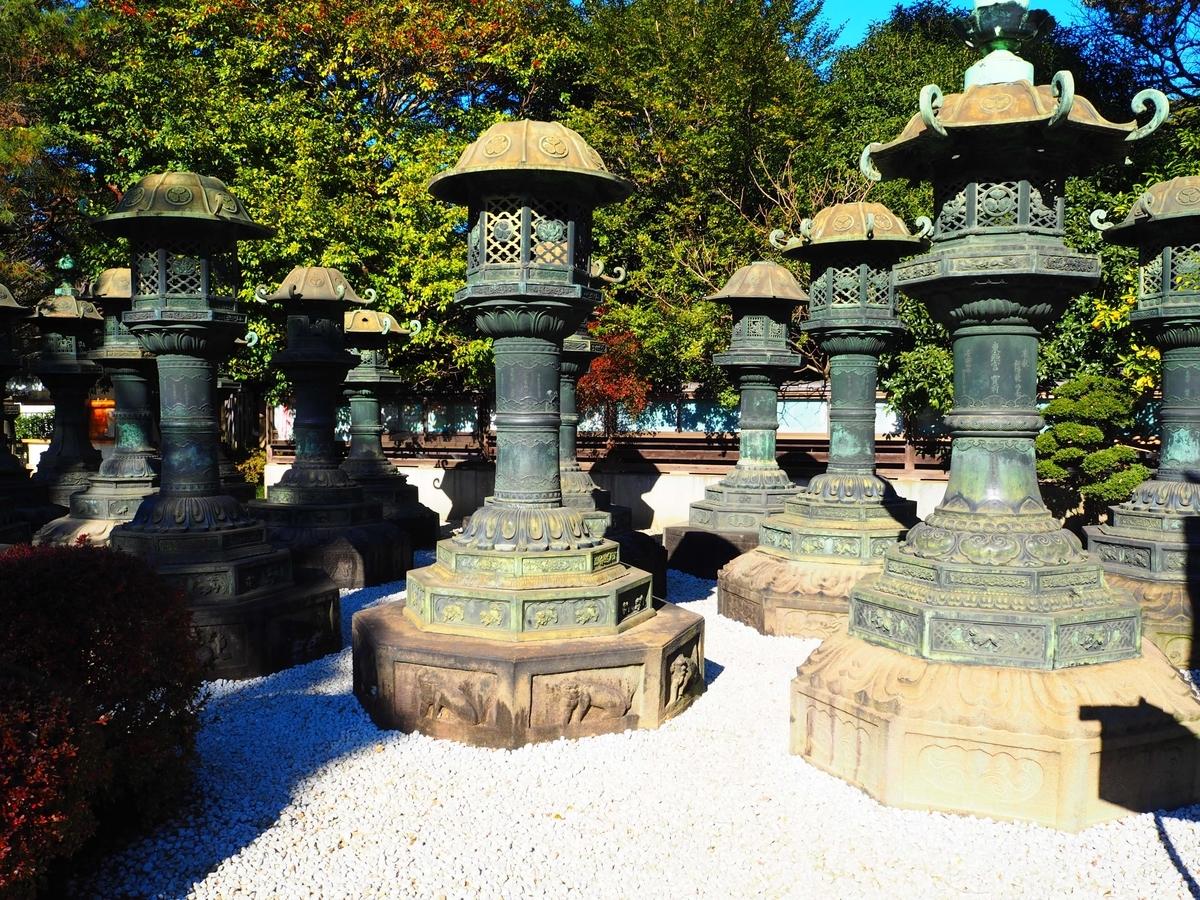 玉砂利の上に並ぶ上野東照宮の銅灯篭