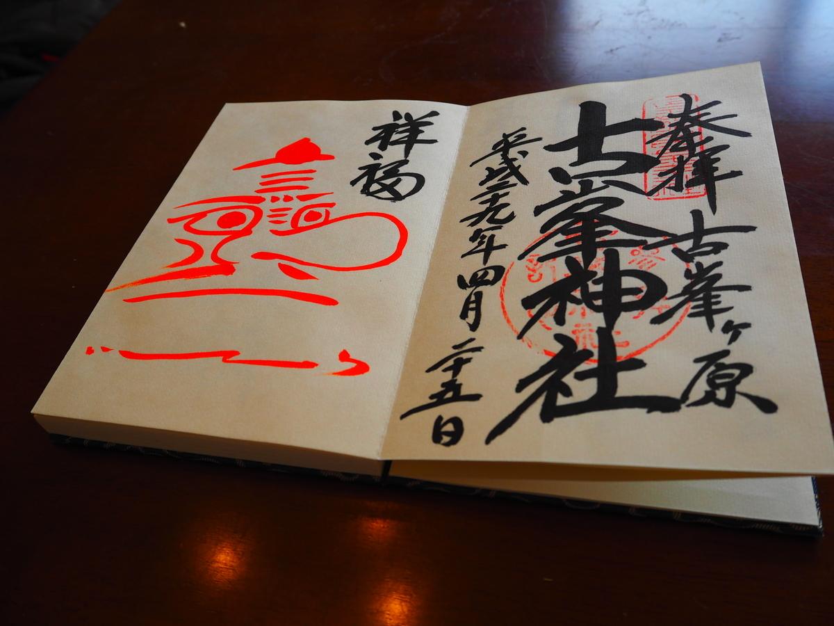 古峯神社の平成29年4月25日付祥福 朱色の天狗御朱印