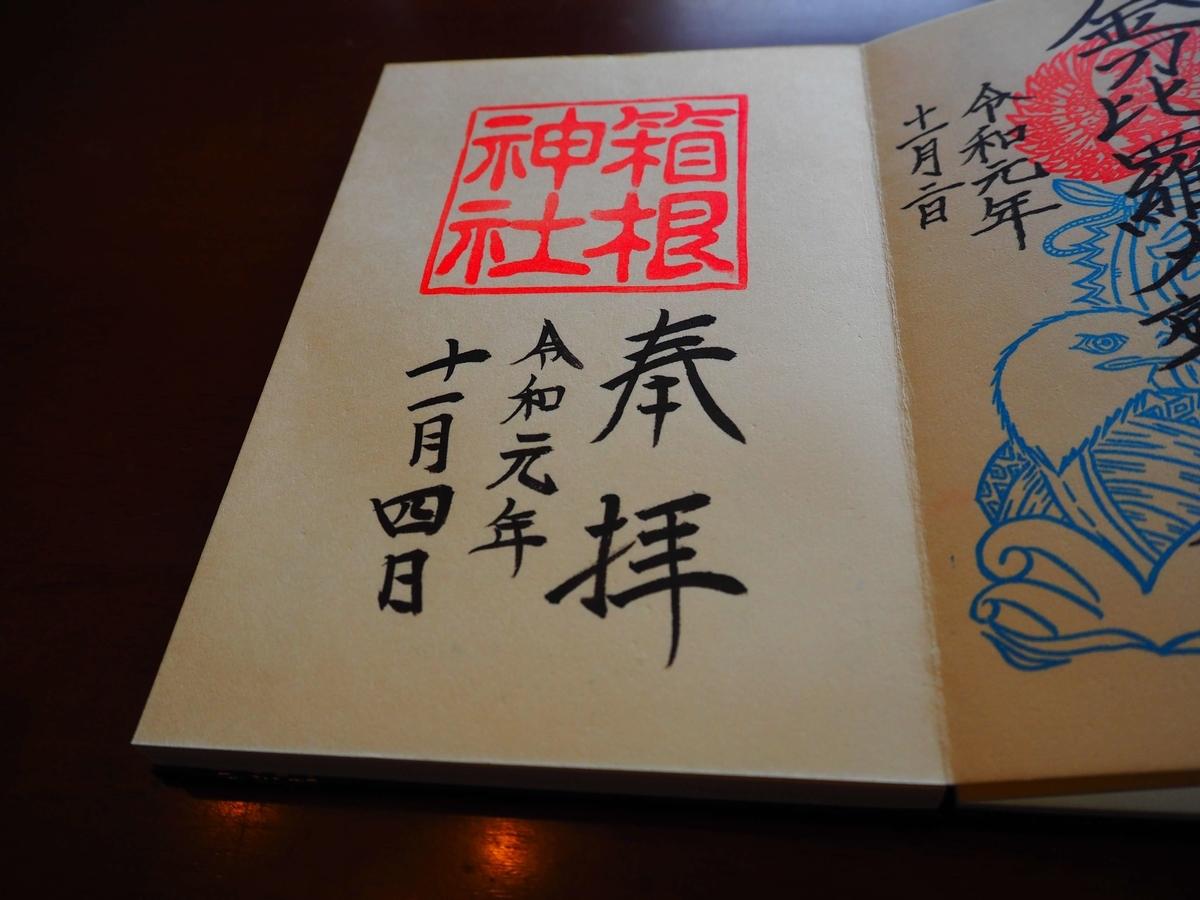 箱根神社の令和元年11月4日付御朱印