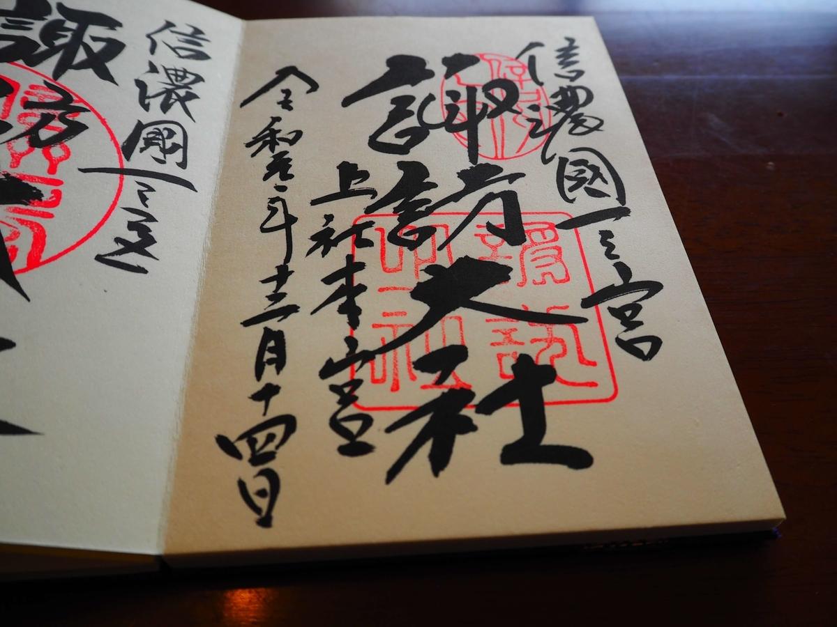 諏訪大社上社本宮の令和元年12月14日御朱印