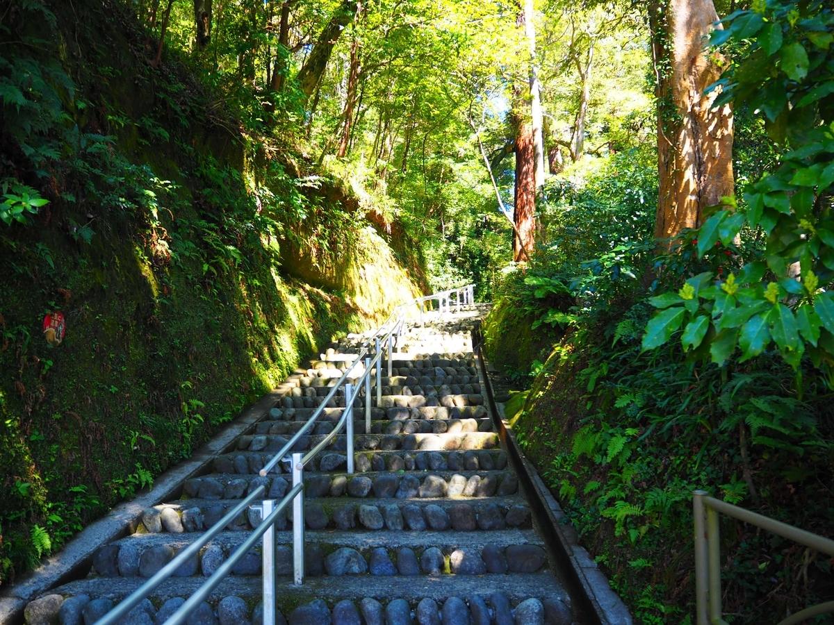 傾斜のきつい階段が続く笠森観音の参道