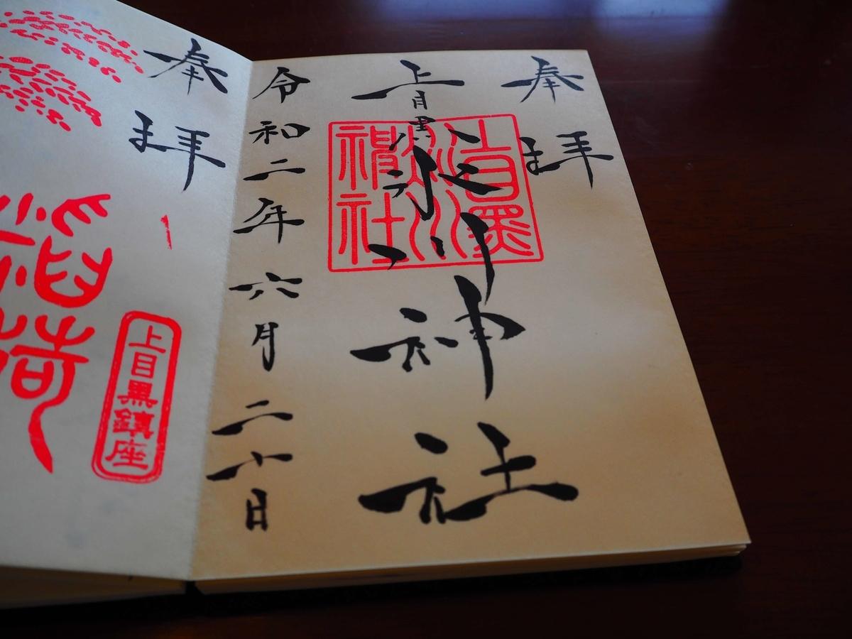 氷川神社の令和2年6月20日付御朱印