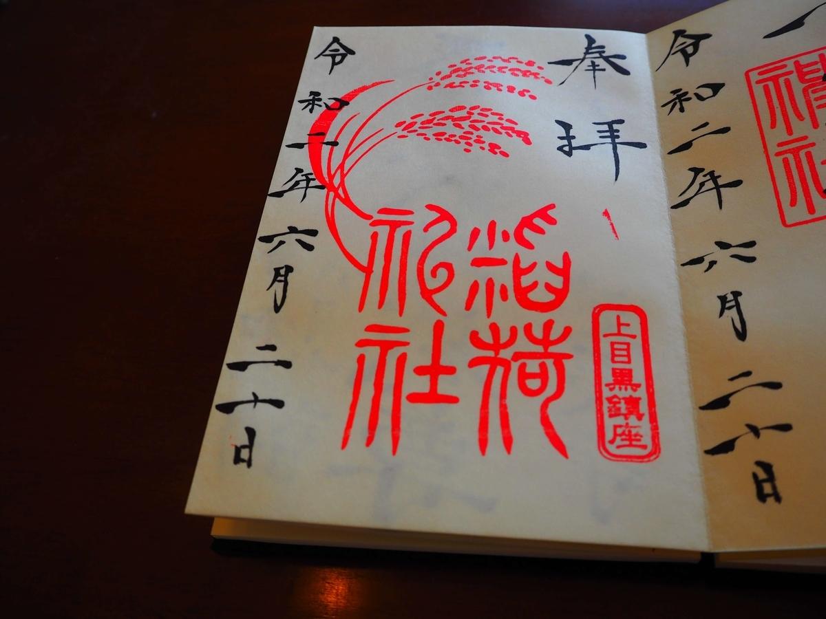 稲荷神社の令和2年6月20日付御朱印