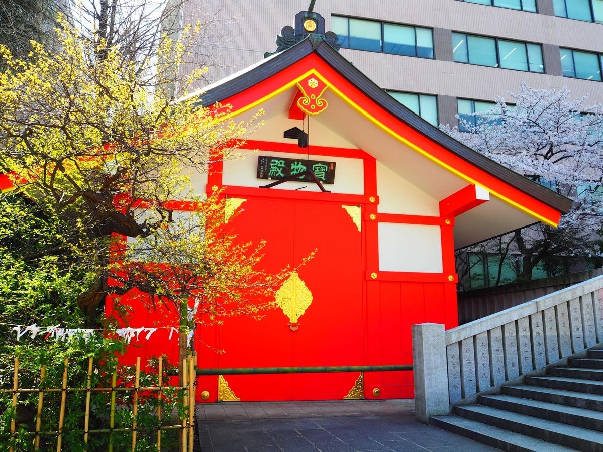 満開の桜に隣接した花園神社の宝物殿