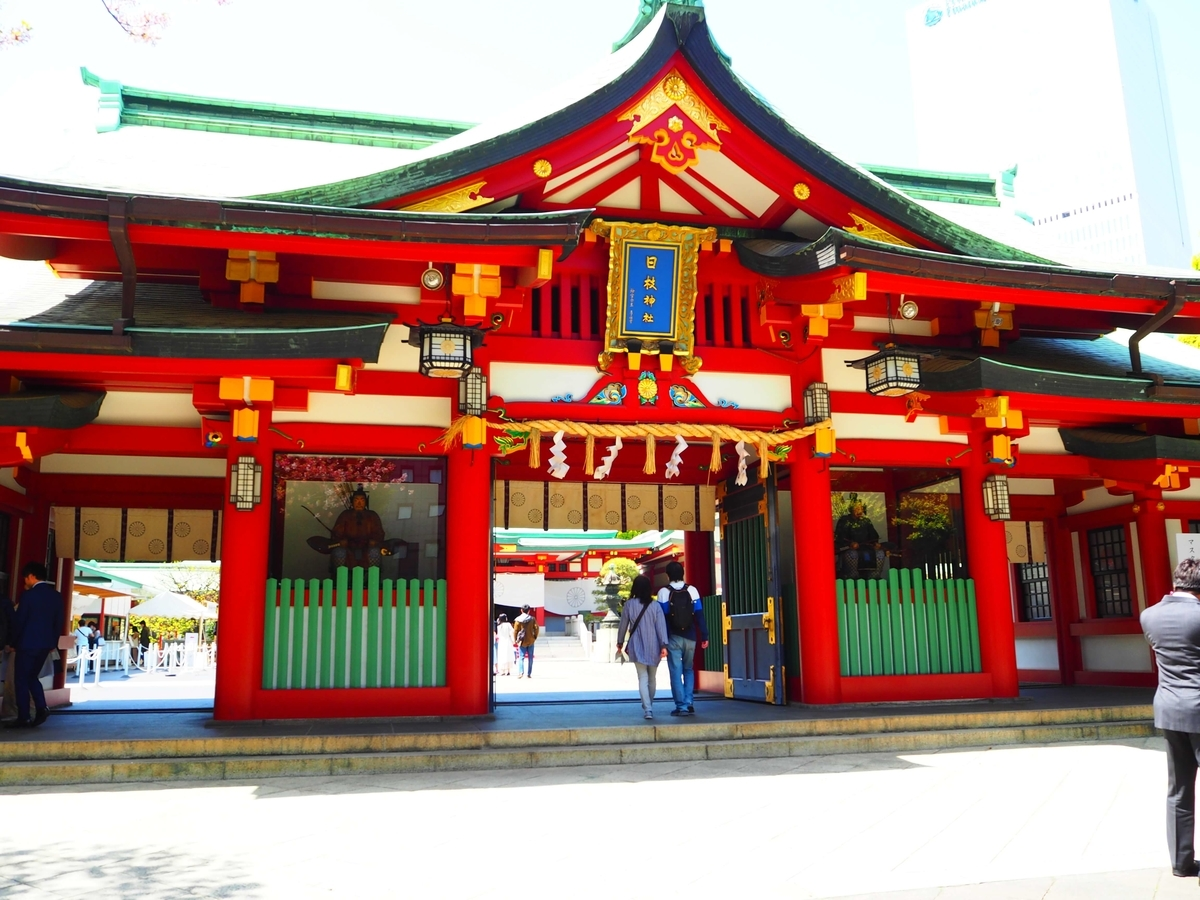 「日枝神社」の額が掲げられた日枝神社の神門表側