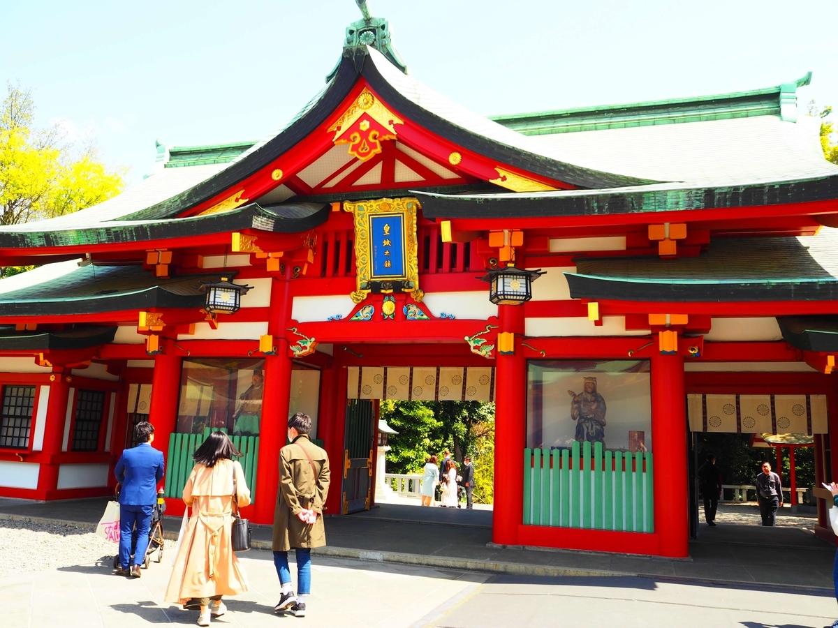 日枝神社の神門裏側