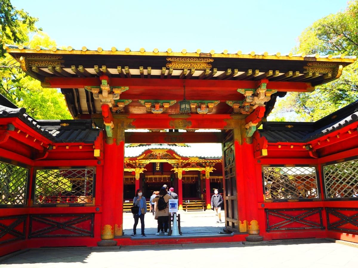 重要文化財の根津神社の唐門