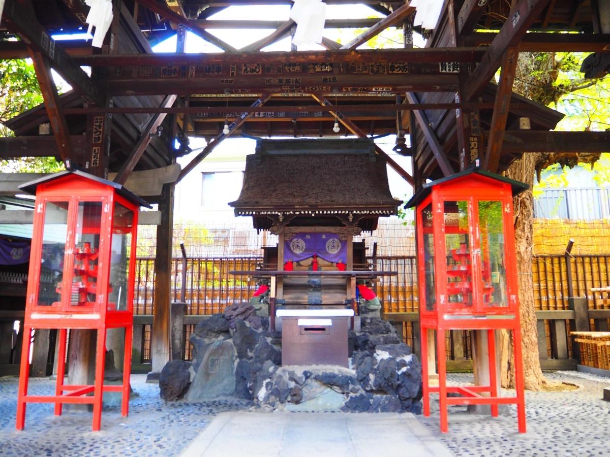 覆社で風雨から守られている被官稲荷社の社殿
