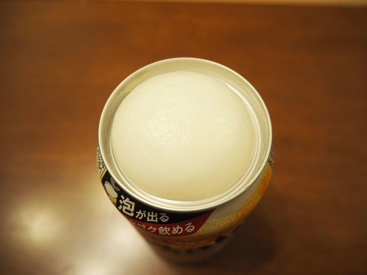 アサヒスーパードライ生ジョッキ缶のクリーミーな泡