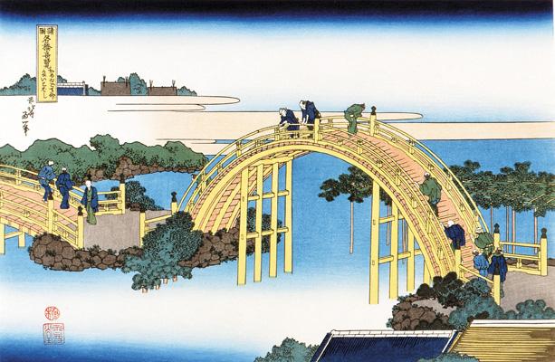 江戸時代の浮世絵に描かれた亀戸天神社の太鼓橋