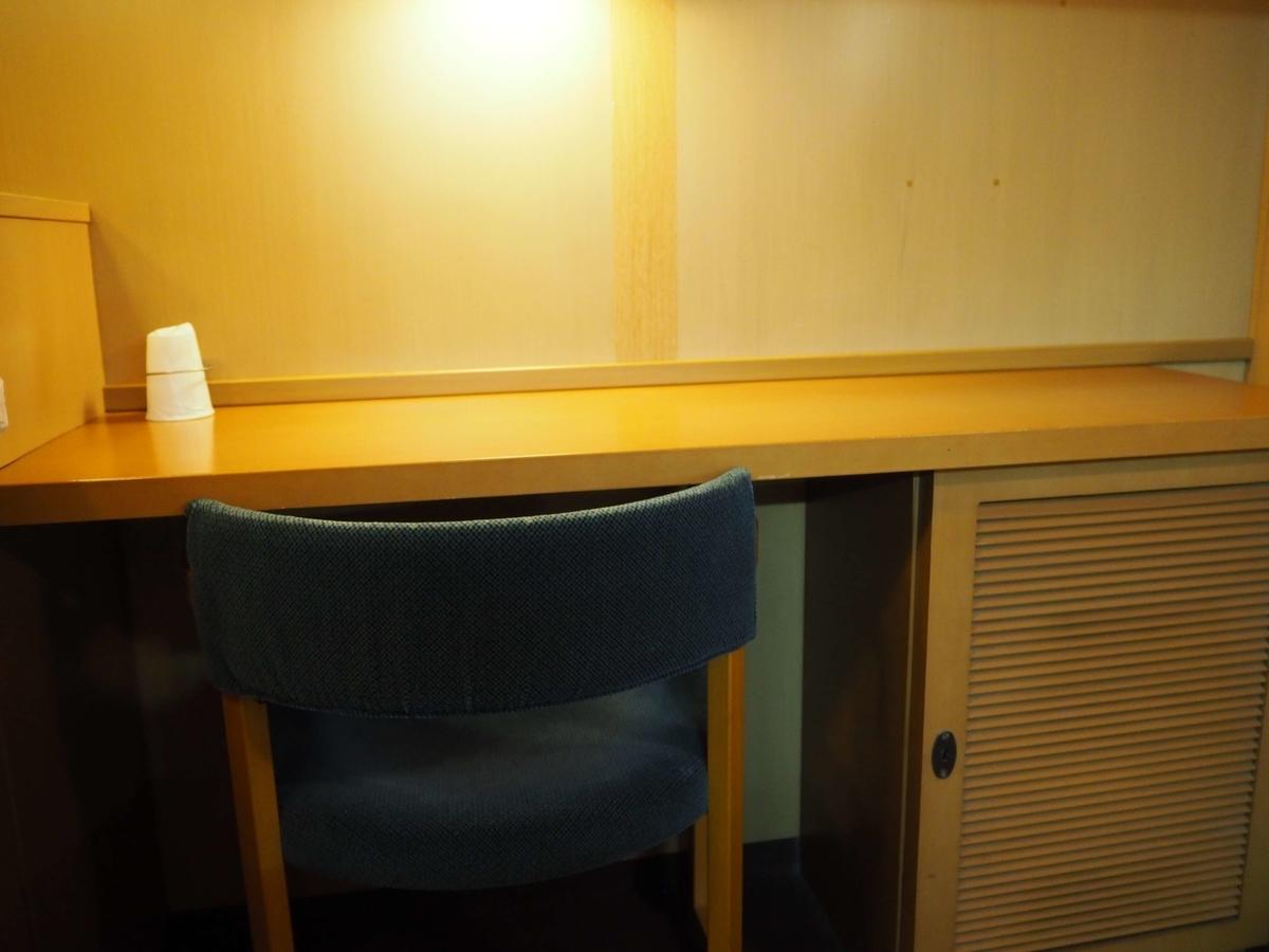 ベッドの反対側にあるテーブルと椅子
