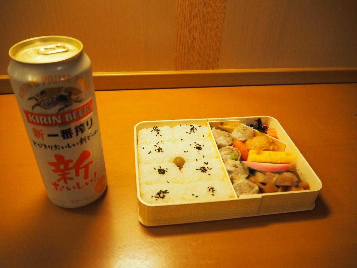 机に置かれたシウマイ弁当とビール