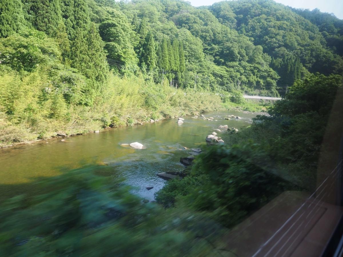 車窓の日野川