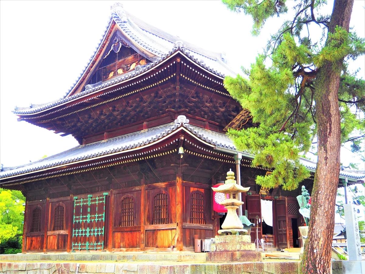 斜め前から見た善通寺の金堂