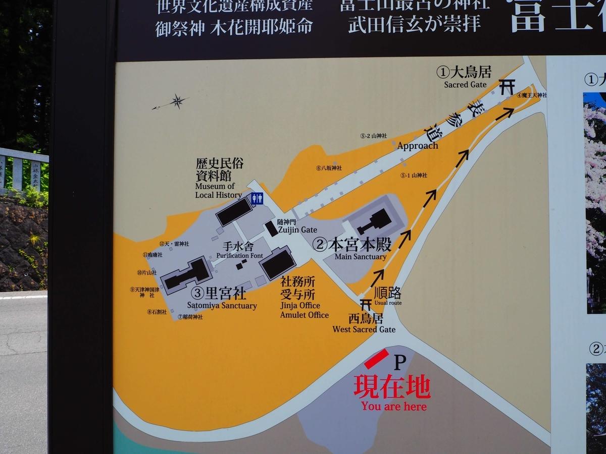 冨士御室浅間神社の境内案内図
