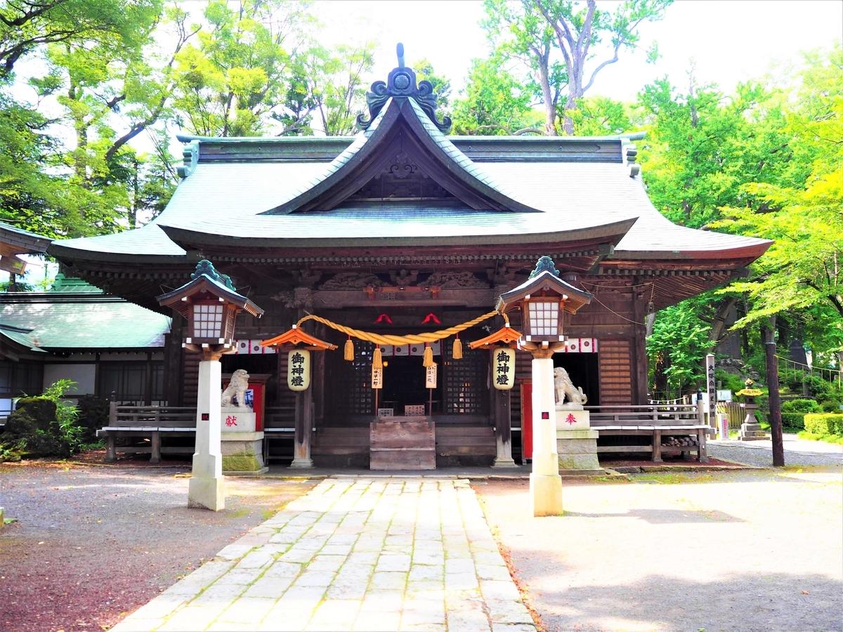 真正面から見た小室浅間神社の拝殿