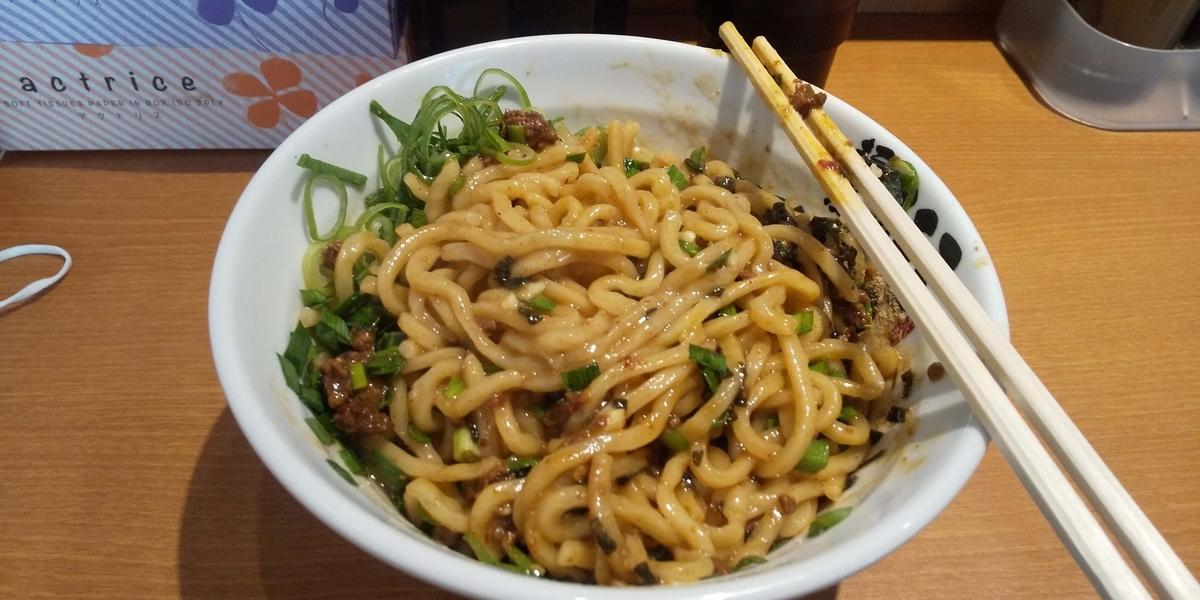 麺と具材をひたすらかき混ぜた台湾まぜそば
