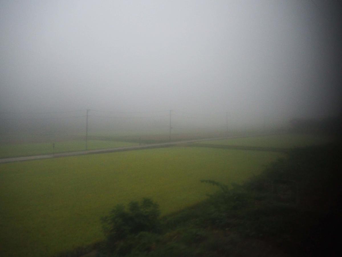 一面の霧に覆われた車窓