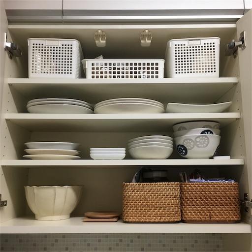 統一感のない食器棚のかご