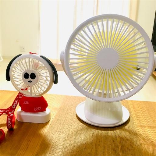 スヌーピーのミニ扇風機とクリップファン
