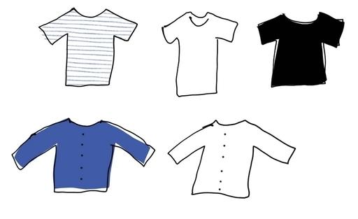 5着のTシャツのイラスト
