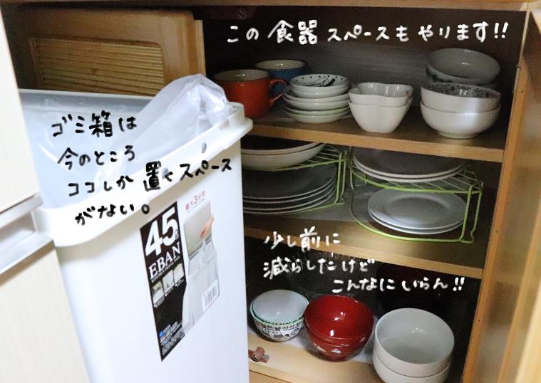 片付け前 食器棚 下