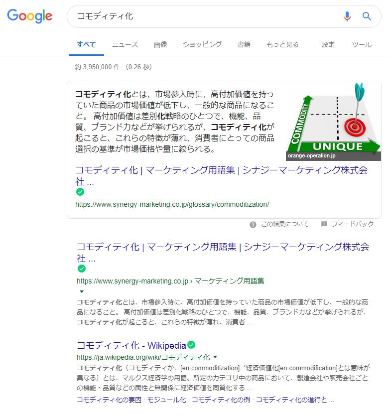 「コモディティ化」検索画面