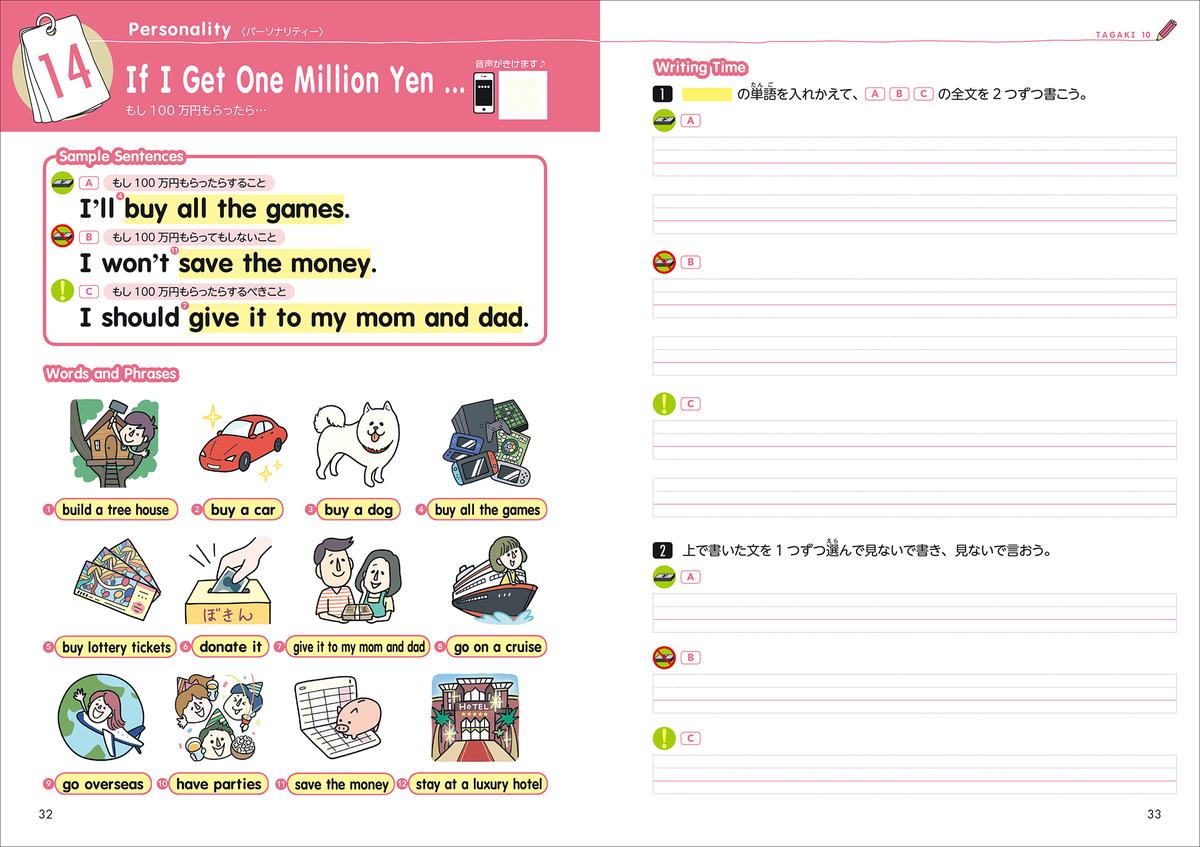 問題1.  TAGAKI 10 No. 14 If I Get One Million Yen (もし100万円もらったら)