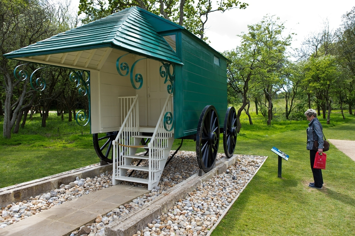 Queen Victoria's bathing machine on the Isle of Wight, England, today.