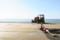 砂浜の工事現場