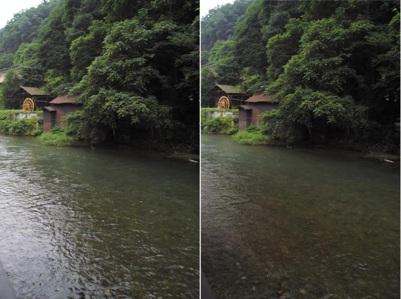 大沢温泉でC-PLフィルタの有無を比較する。右が偏光カットしたもの。