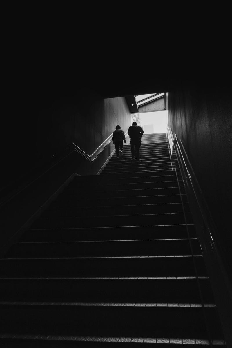 写真:写真展で展示した京都駅の階段の写真