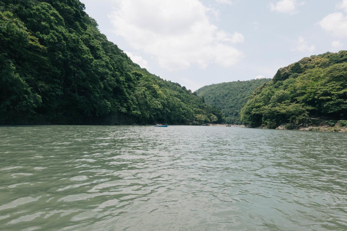 写真:ボートから見る桂川