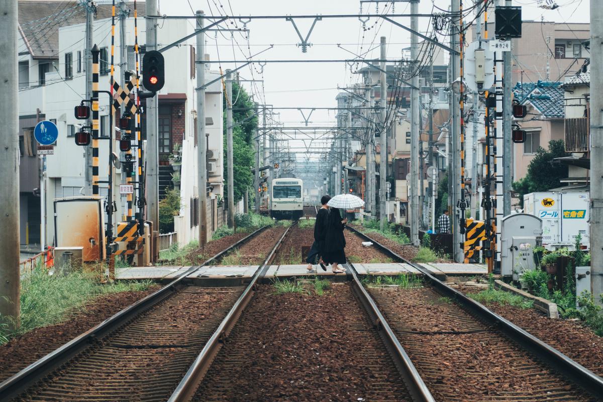 写真:一乗寺の叡電線路