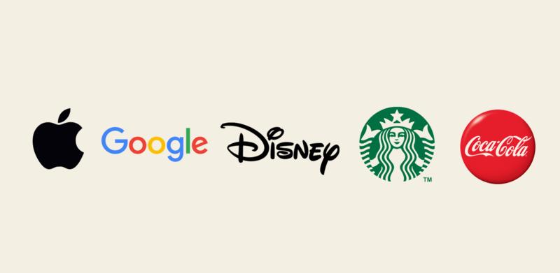 アップル、グーグル、ディズニー、スターバックス、コカ・コーラのロゴ画像