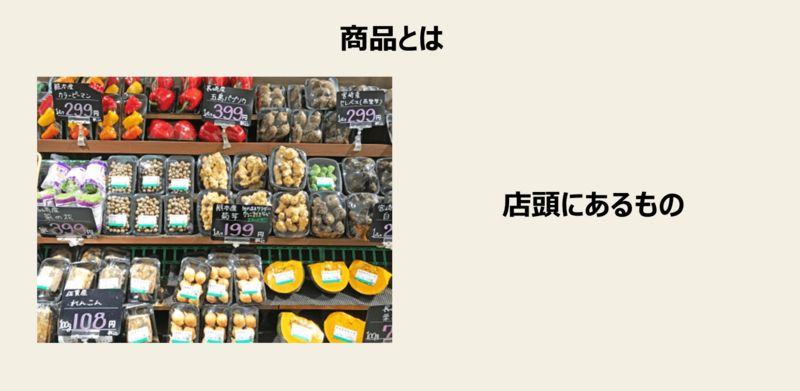 店頭に積まれている商品の画像