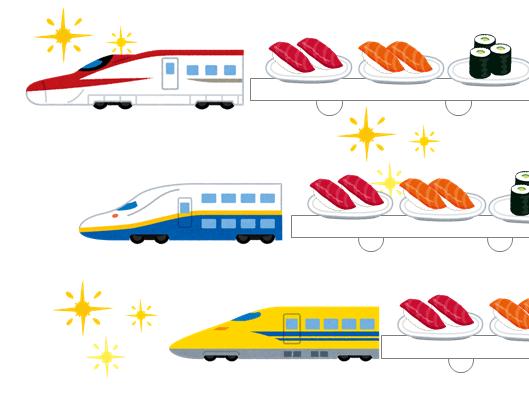 色々な新幹線が寿司ネタを載せて目の前に走ってくる