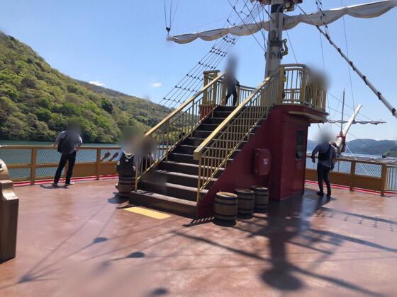 箱根の海賊船の特別船室デッキ