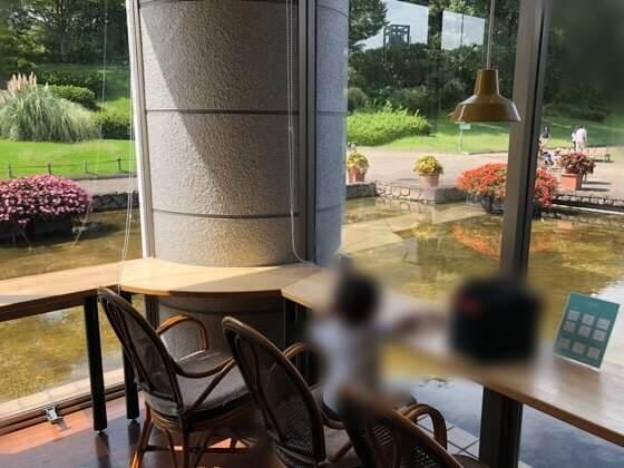 神奈川県相模原市にある相模原公園の植物園カフェ内窓際の席