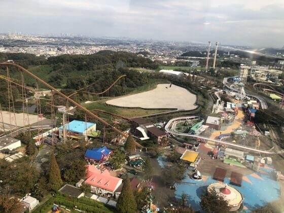 東京都稲城市にあるよみうりランドの観覧車からみた景色